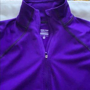 NIKE PRO 1/4 zip dri fit pullover, MEDIUM